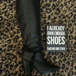 Kenneth Cole High Heel Braided Tassel Black Boots